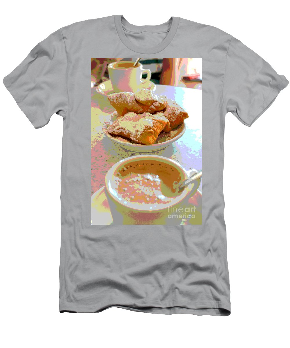 Cafu Monde Men's T-Shirt (Athletic Fit) featuring the digital art Breakfast Of Champions At Cafe Du Monde by Alys Caviness-Gober