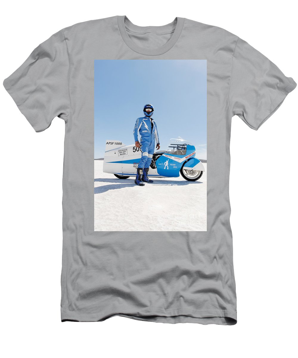 Motorcycle Men's T-Shirt (Athletic Fit) featuring the photograph Brett De Stoop And His Suzuki Gt 750 by Frank Kletschkus