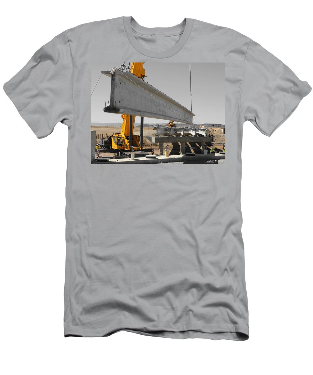 Construction Men's T-Shirt (Athletic Fit) featuring the photograph Bridge Building Bw by Chris Martin