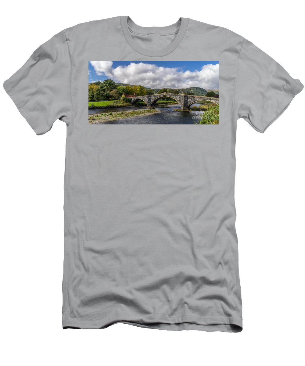 Pont Fawr Men's T-Shirt (Athletic Fit) featuring the photograph Bridge Of Swearing by Adrian Evans