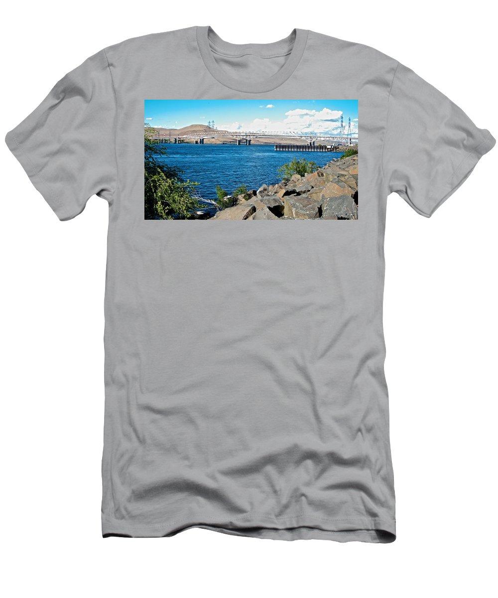 Bridge Over Columbia River At Umatilla Men's T-Shirt (Athletic Fit) featuring the photograph Bridge Over Columbia River At Umatilla-or by Ruth Hager