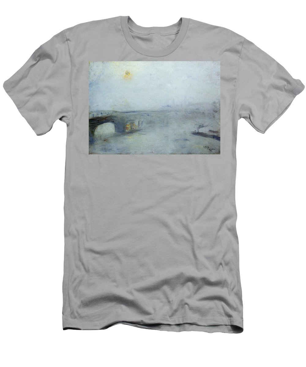 Lesser Men's T-Shirt (Athletic Fit) featuring the painting Bridge Over The River Thames by Lesser Ury
