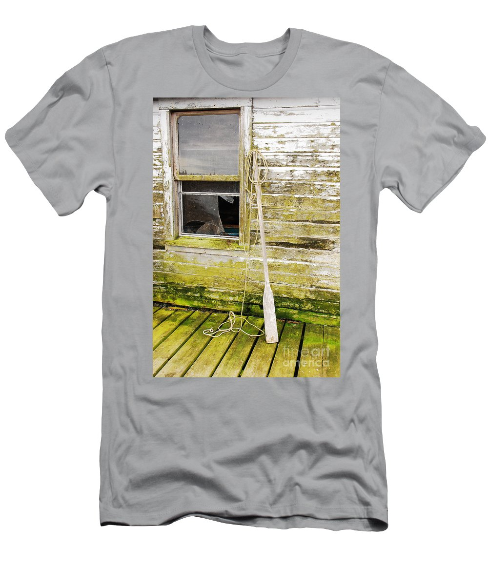 Oar Men's T-Shirt (Athletic Fit) featuring the photograph Broken Window by Mary Carol Story