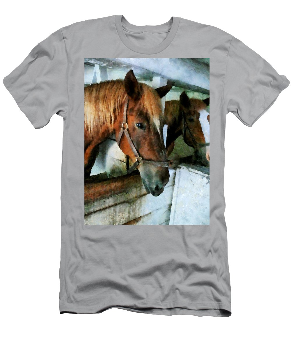 Horse Men's T-Shirt (Athletic Fit) featuring the photograph Brown Horse In Stall by Susan Savad