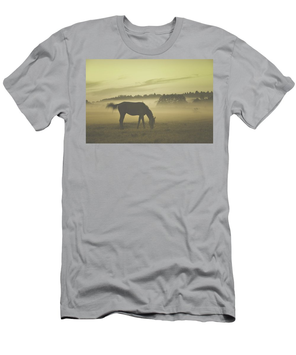 Animal Men's T-Shirt (Athletic Fit) featuring the photograph Brown Horse by  larisa Fedotova