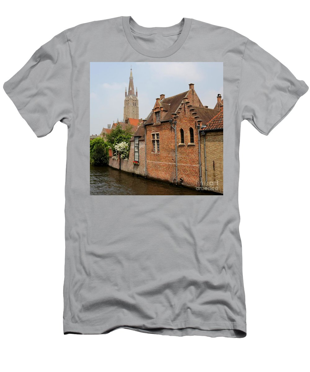 Bruges Men's T-Shirt (Athletic Fit) featuring the photograph Bruges Houses With Bell Tower by Carol Groenen