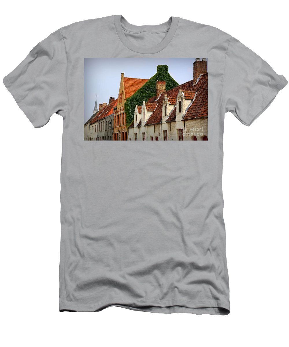 Bruges Men's T-Shirt (Athletic Fit) featuring the photograph Bruges Rooftops by Carol Groenen