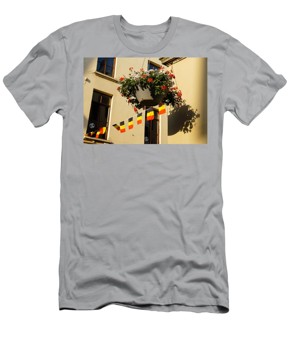 Brussels Men's T-Shirt (Athletic Fit) featuring the photograph Brussels Belgium - Flowers Flags Football by Georgia Mizuleva