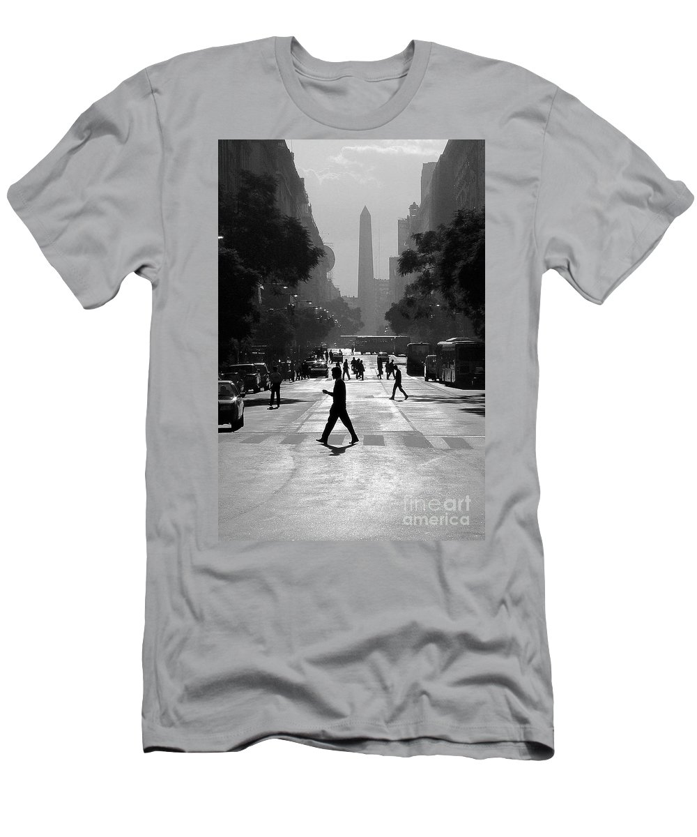 Buenos Aires Men's T-Shirt (Athletic Fit) featuring the photograph Buenos Aires Obelisk II by Bernardo Galmarini