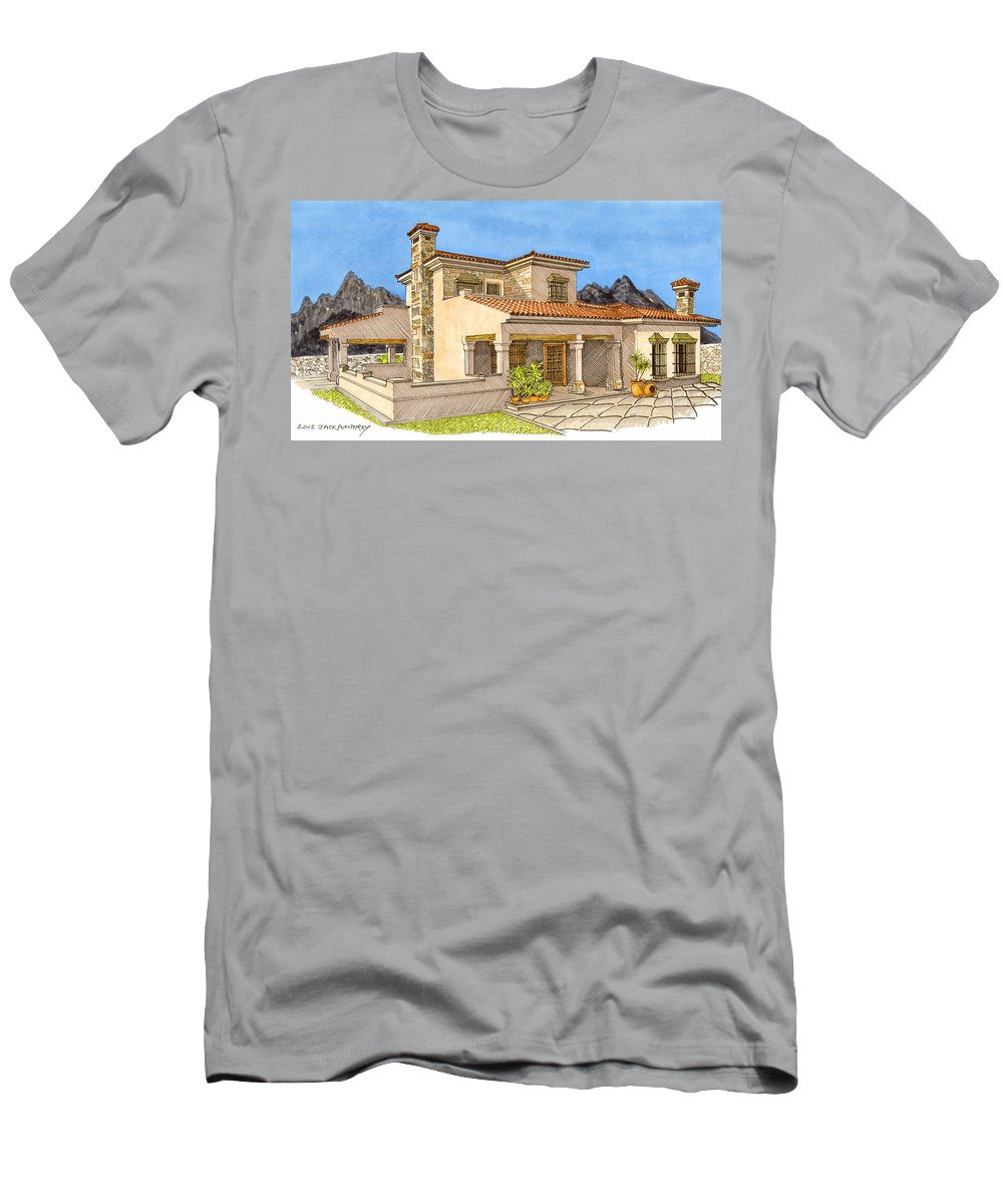 Architectural Renderings Men's T-Shirt (Athletic Fit) featuring the painting Builders Rendering by Jack Pumphrey