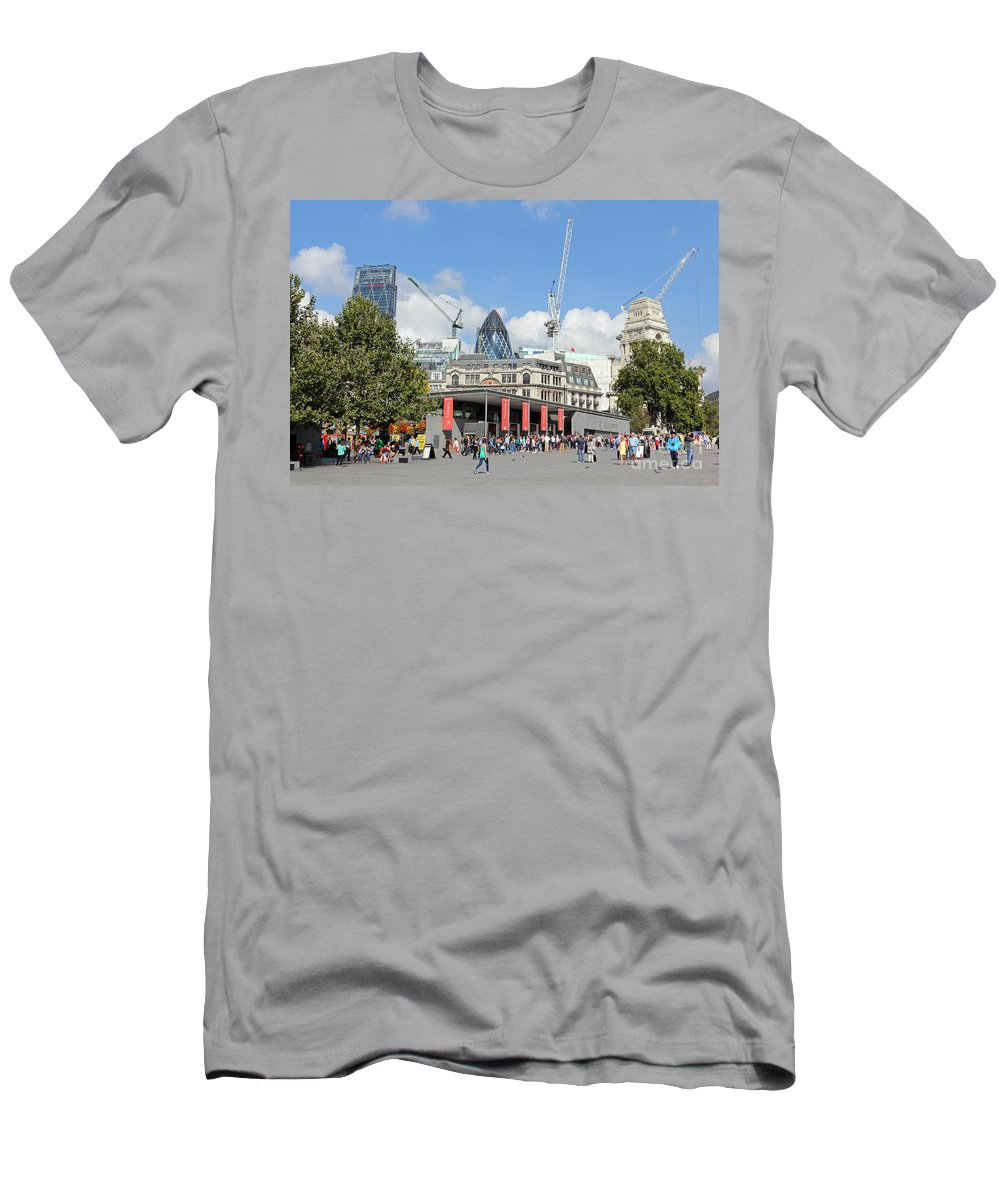 Building Work In The City Of London Men's T-Shirt (Athletic Fit) featuring the photograph Building Work In The City Of London by Julia Gavin
