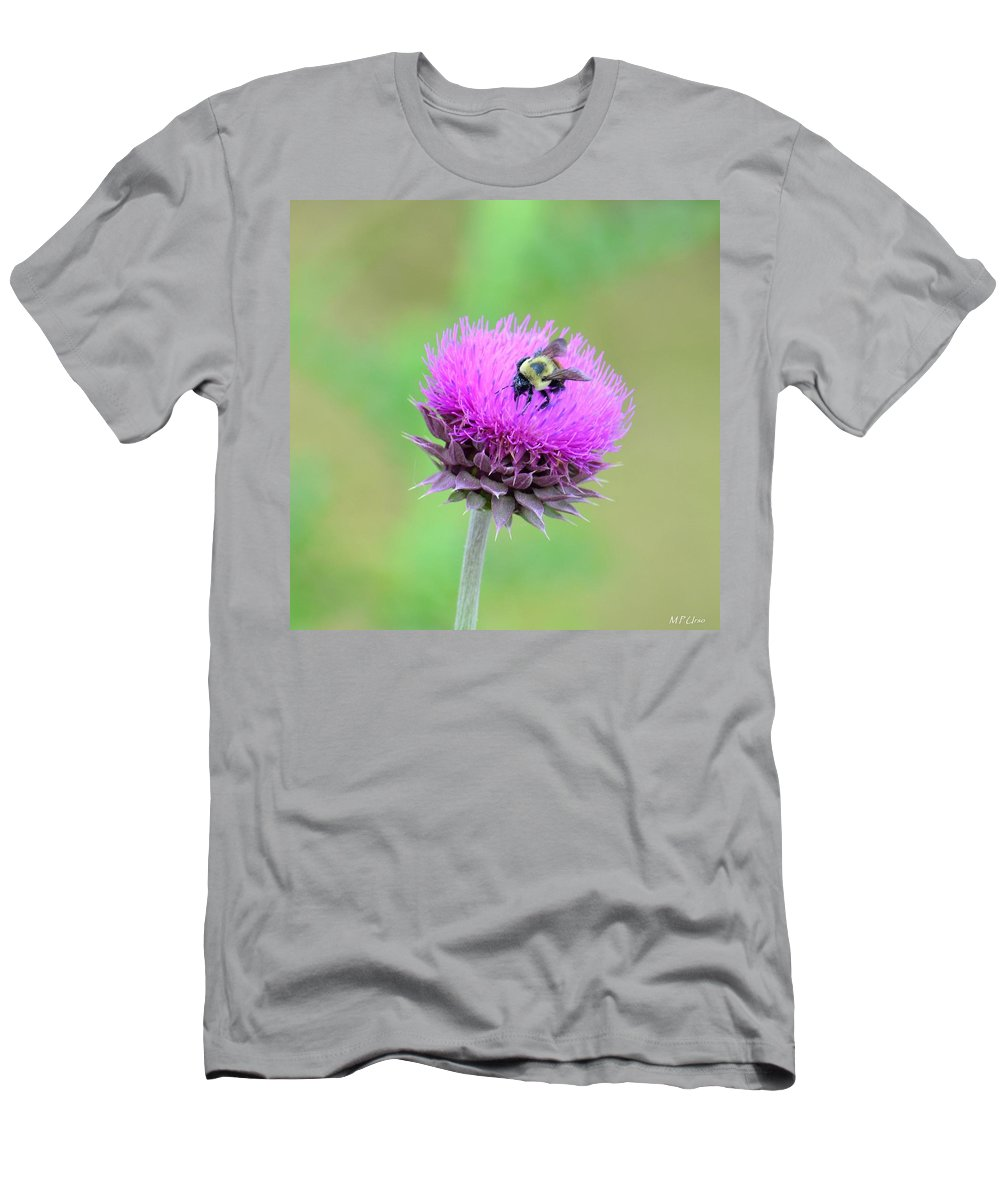 Bumblebee On Thistle Men's T-Shirt (Athletic Fit) featuring the photograph Bumblebee On Thistle 2013 by Maria Urso
