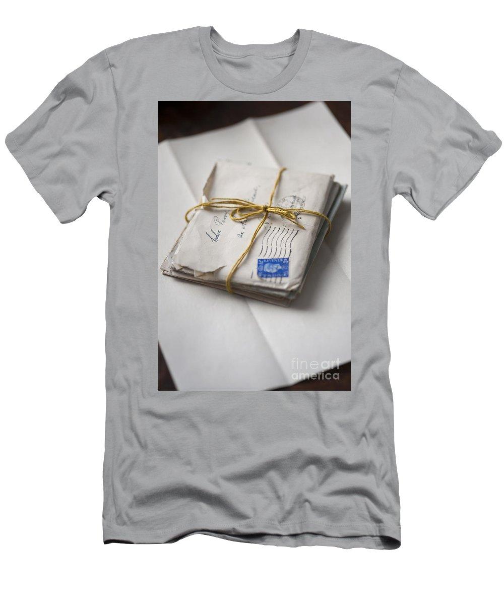 Letter Men's T-Shirt (Athletic Fit) featuring the photograph Bundle Of Vintage Letters by Lee Avison