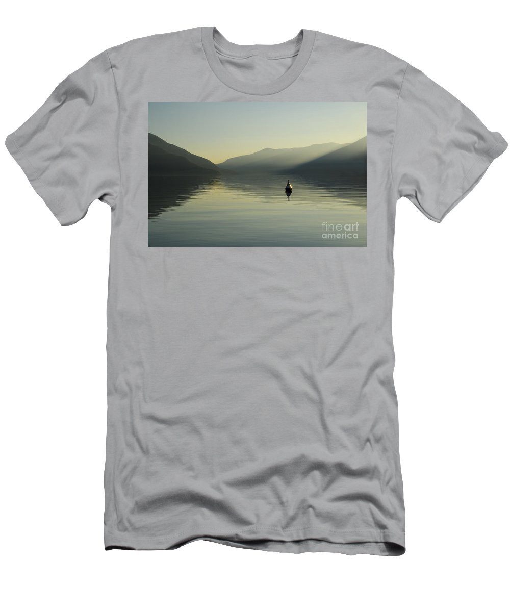 Buoy Men's T-Shirt (Athletic Fit) featuring the photograph Buoy On An Alpine Lake by Mats Silvan