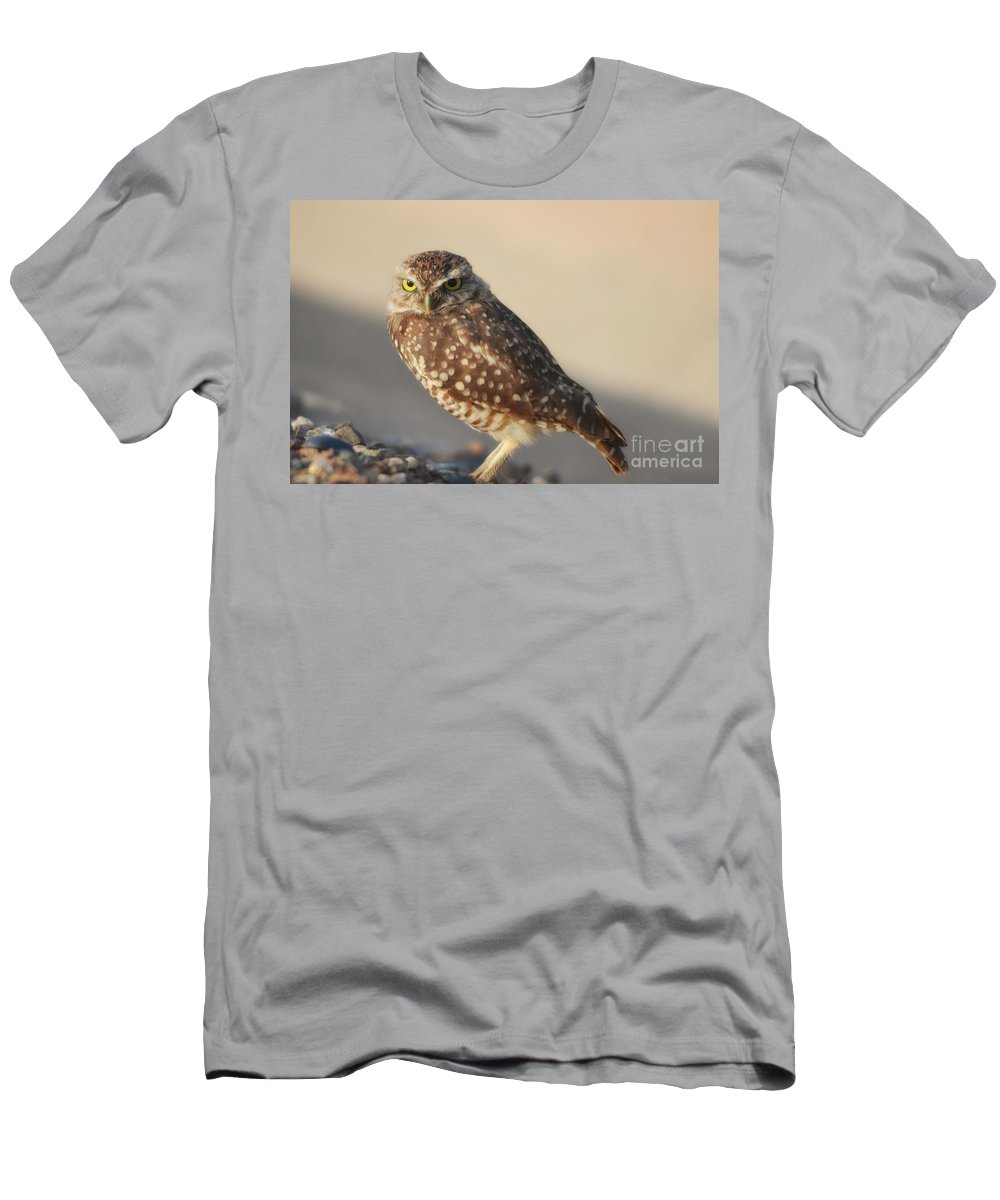 Owl Men's T-Shirt (Athletic Fit) featuring the photograph Burrowing Owl by Donna Greene