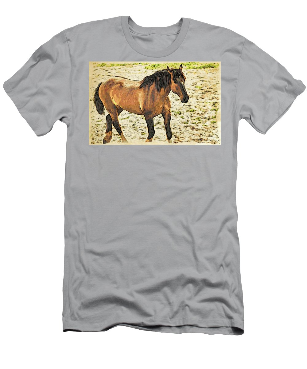 Bronc Men's T-Shirt (Athletic Fit) featuring the photograph Buster Bronc by Alice Gipson