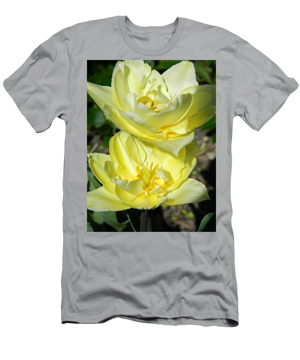 Double Yellow Tulips Men's T-Shirt (Athletic Fit) featuring the photograph Butter Cream by Terri Waselchuk