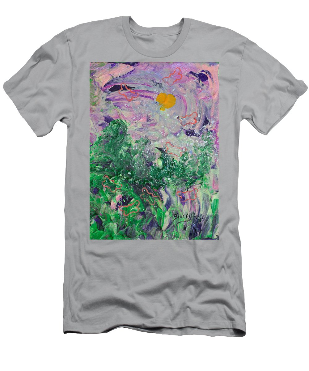 Bold Abstract Men's T-Shirt (Athletic Fit) featuring the painting Butterflies In The Breeze by Donna Blackhall