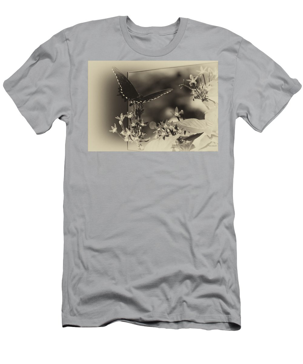 Insects Men's T-Shirt (Athletic Fit) featuring the photograph Butterfly Black 06 In Heirloom Finish by Thomas Woolworth