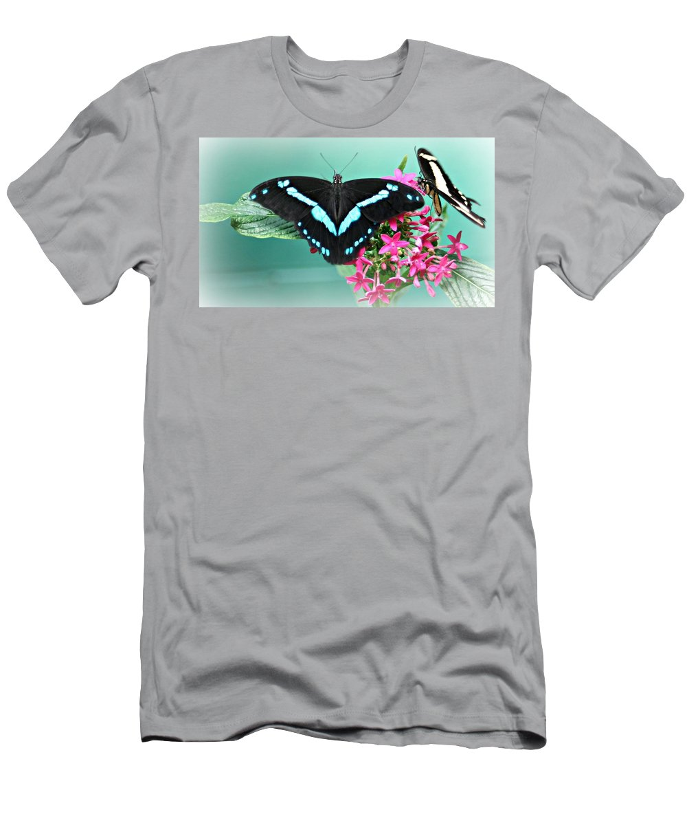 Butterflies Men's T-Shirt (Athletic Fit) featuring the photograph Butterfly Duo by Barbara S Nickerson