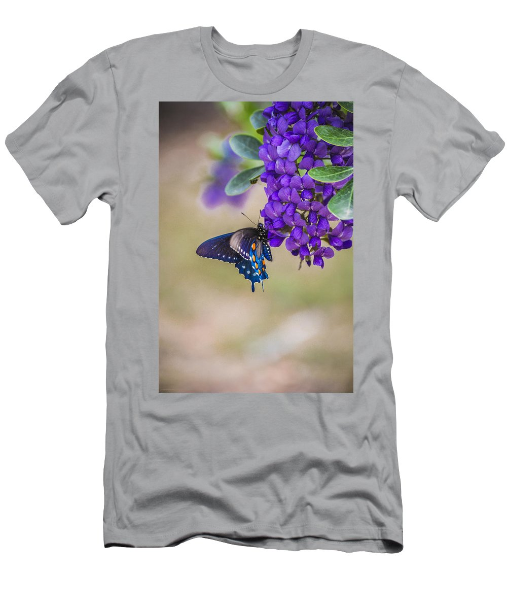 Mountain Laurel Men's T-Shirt (Athletic Fit) featuring the photograph Butterfly Mountain by Debbie Karnes