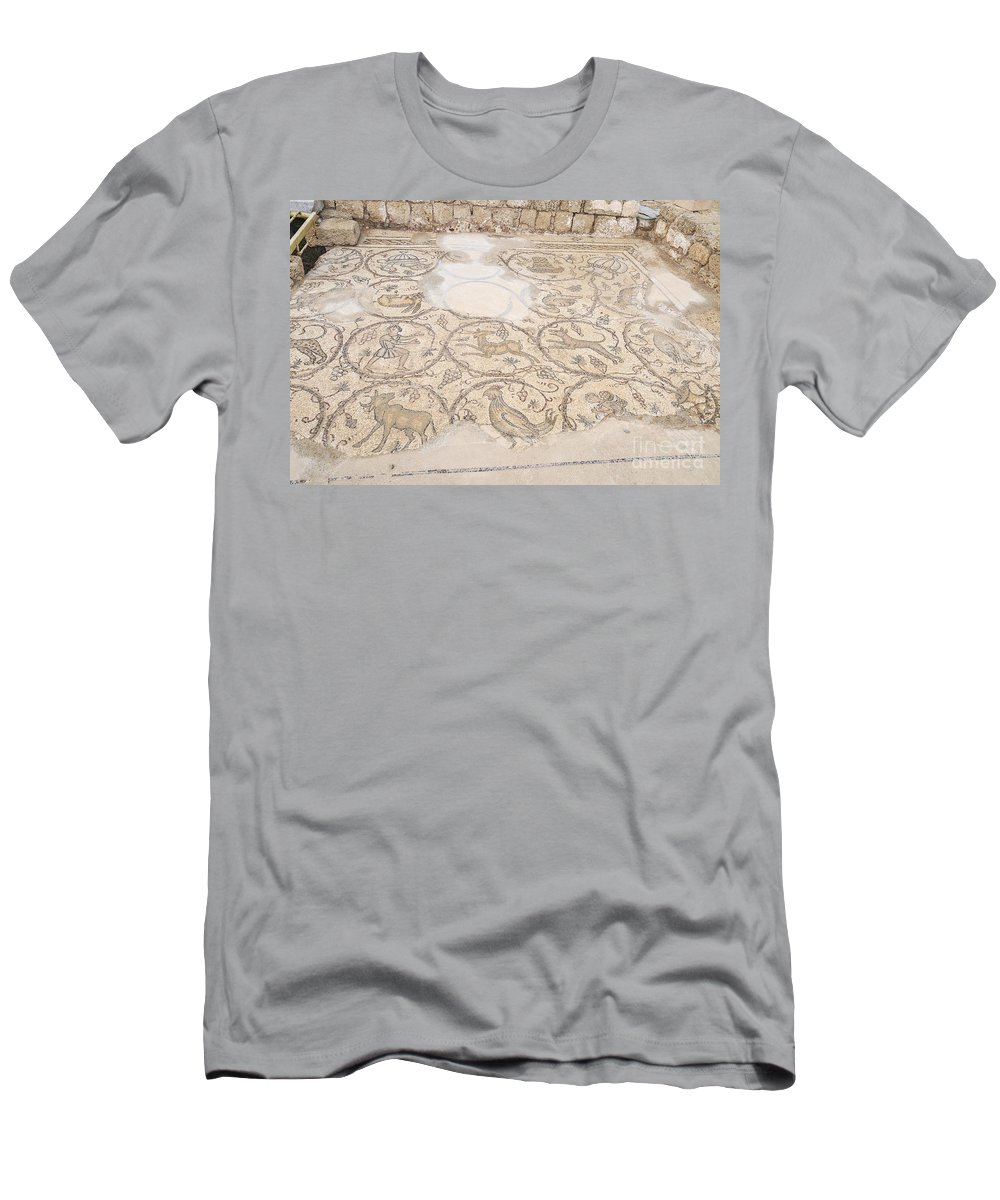 Mosaic Men's T-Shirt (Athletic Fit) featuring the photograph Byzantine Mosaic Depicting Animals And Hunting Scenes. by Shay Levy