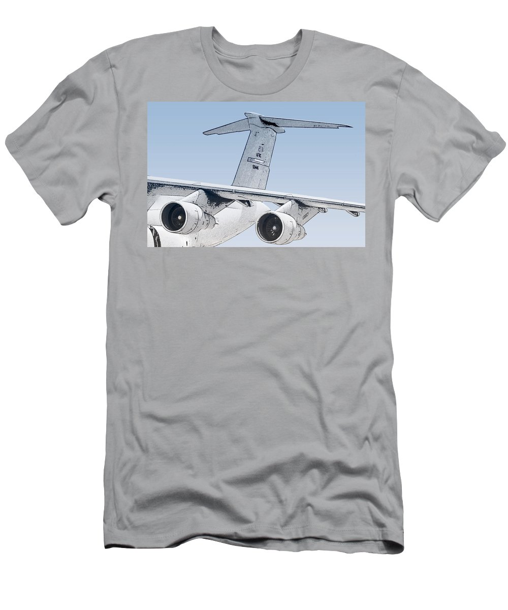 Transportation Men's T-Shirt (Athletic Fit) featuring the photograph C-17 Globemaster by Melinda Ledsome