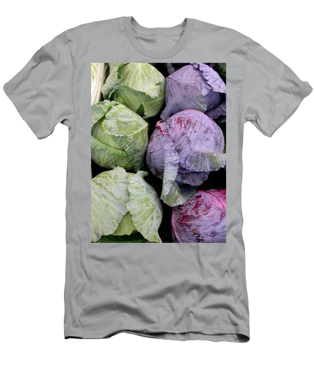 Market Cabbage Men's T-Shirt (Athletic Fit) featuring the photograph Cabbage Friends by Cynthia Wallentine
