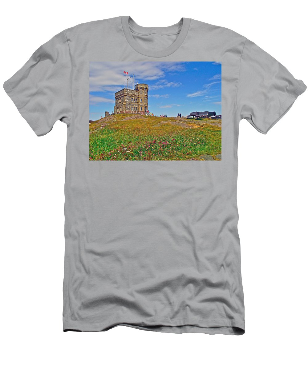Cabot Tower In Signal Hill National Historic Site In Saint John's Men's T-Shirt (Athletic Fit) featuring the photograph Cabot Tower In Signal Hill National Historic Site In Saint John's-nl by Ruth Hager