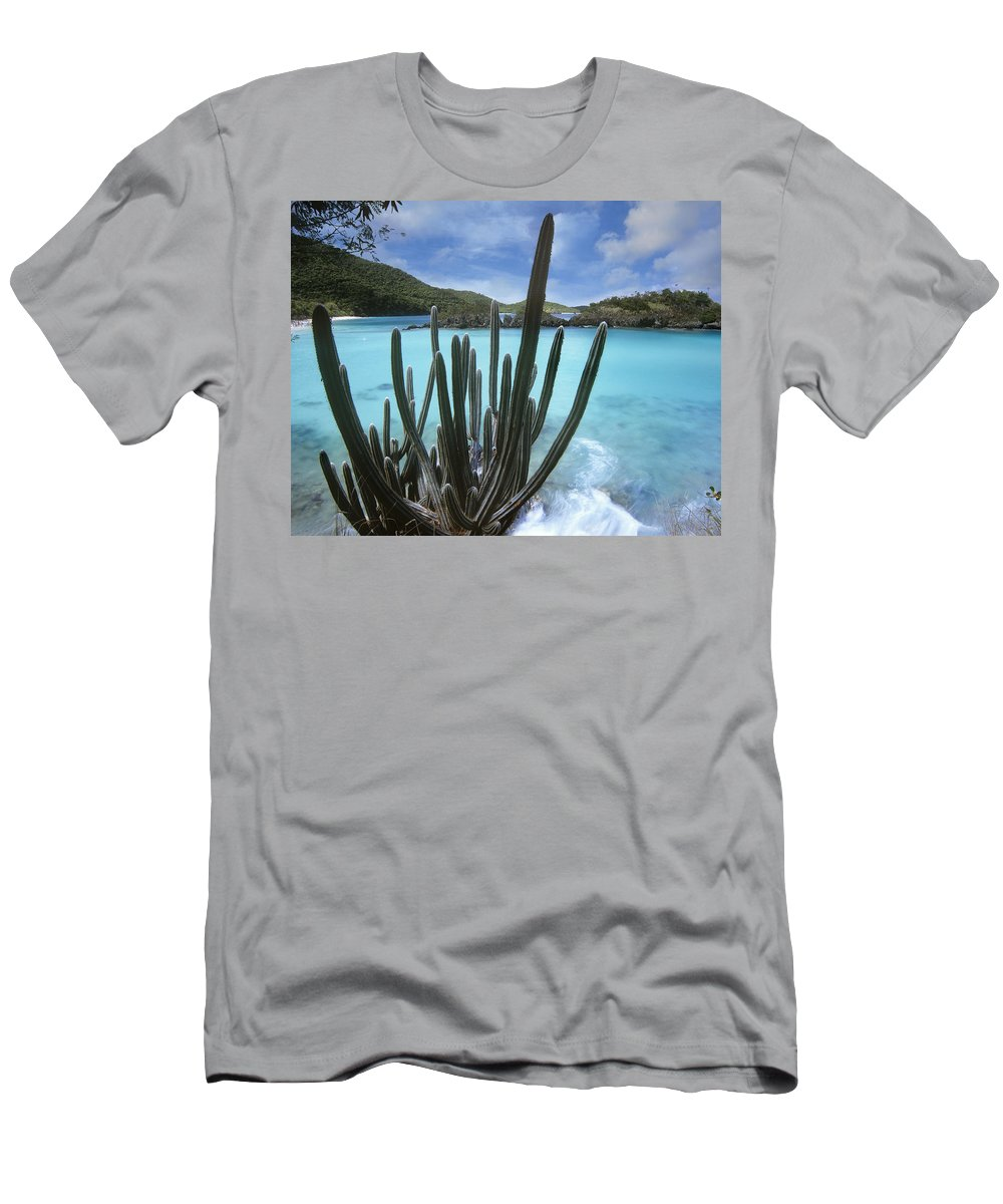 Feb0514 Men's T-Shirt (Athletic Fit) featuring the photograph Cactus Trunk Bay Virgin Islands by Tim Fitzharris