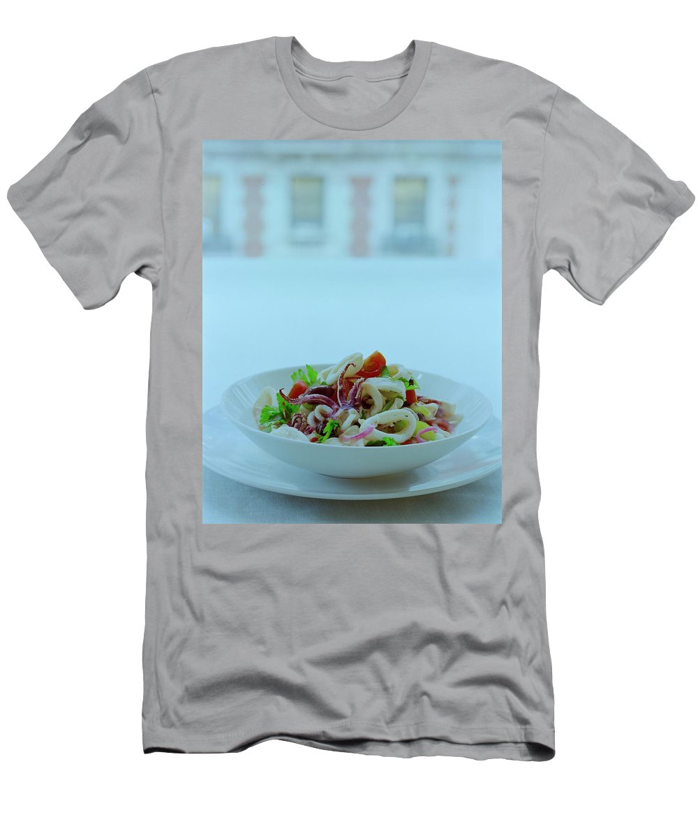 Studio Shot T-Shirt featuring the photograph Calamari Salad by Romulo Yanes
