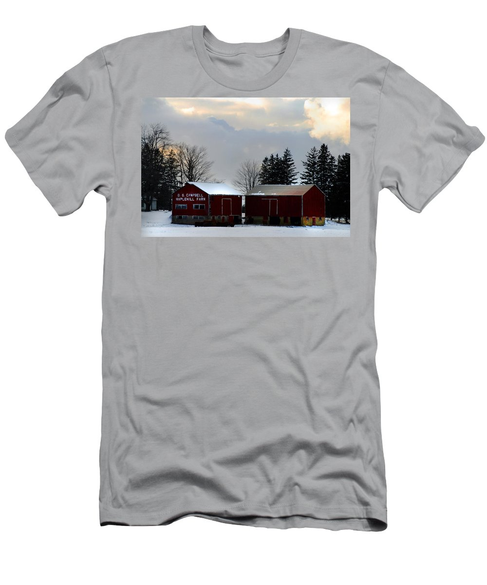 Canada Men's T-Shirt (Athletic Fit) featuring the photograph Canadian Snowy Farm by Anthony Jones