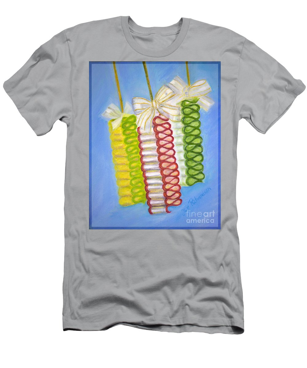 Iris Holzer Richardson Men's T-Shirt (Athletic Fit) featuring the painting Candy Ribbon by Iris Richardson