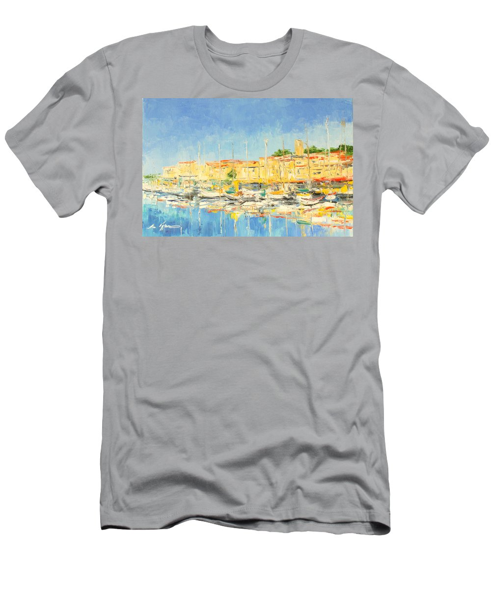 Cannes Men's T-Shirt (Athletic Fit) featuring the painting Cannes Harbour by Luke Karcz
