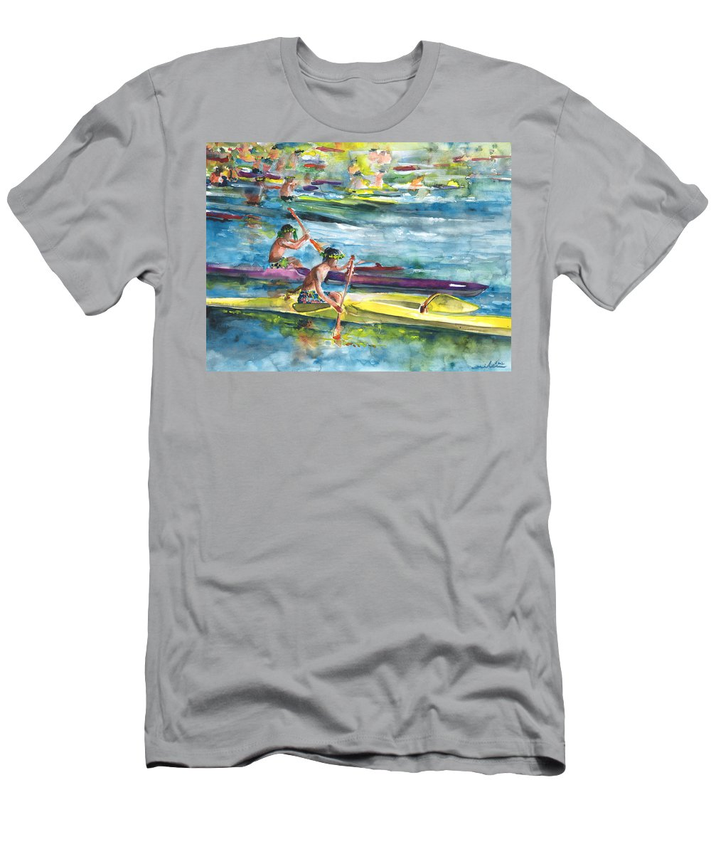Travel Men's T-Shirt (Athletic Fit) featuring the painting Canoe Race In Polynesia by Miki De Goodaboom