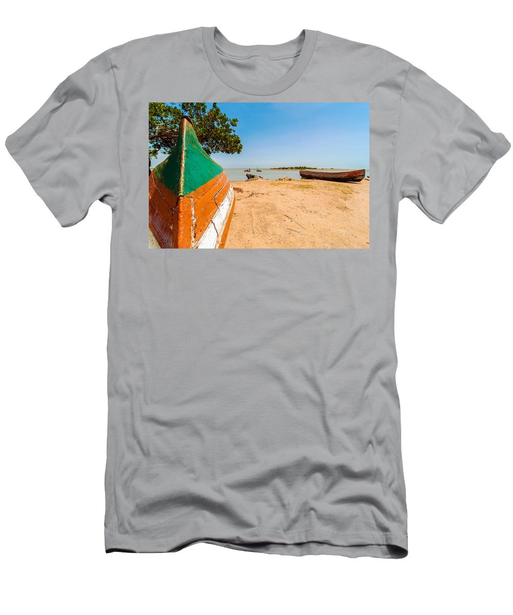 Water Men's T-Shirt (Athletic Fit) featuring the photograph Canoes On A Lakeshore by Jess Kraft