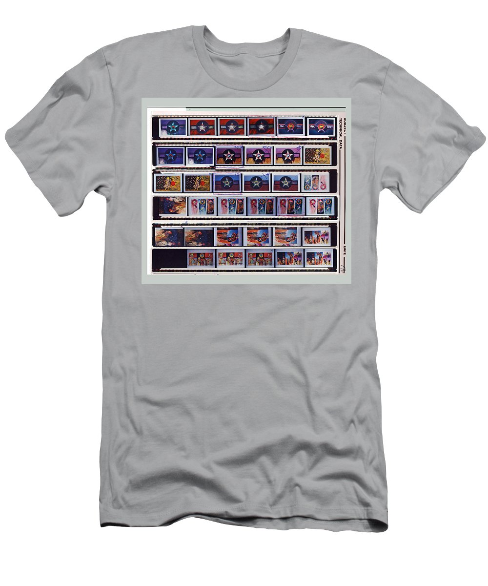 Oil Paintings On Canvas Men's T-Shirt (Athletic Fit) featuring the painting Canvas Contact Strip by Charles Stuart