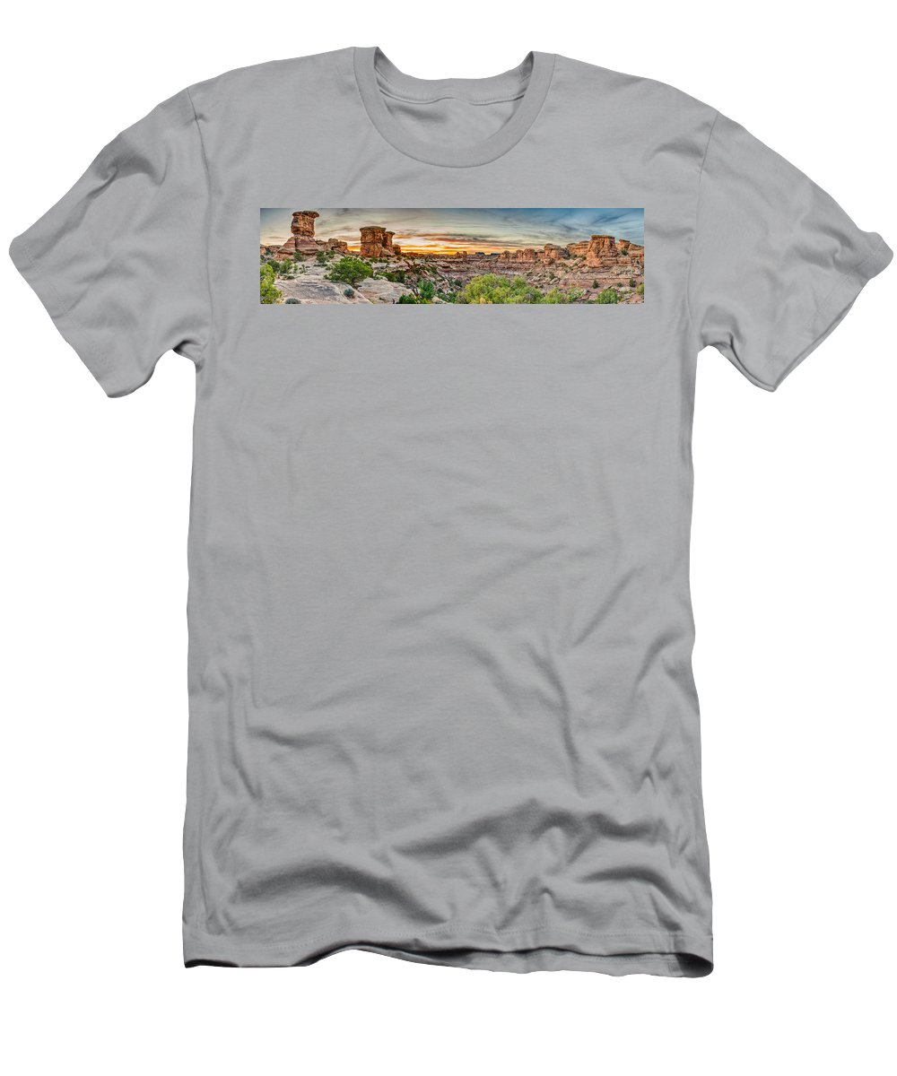 Pano Men's T-Shirt (Athletic Fit) featuring the photograph Canyonlands National Park by Brett Engle