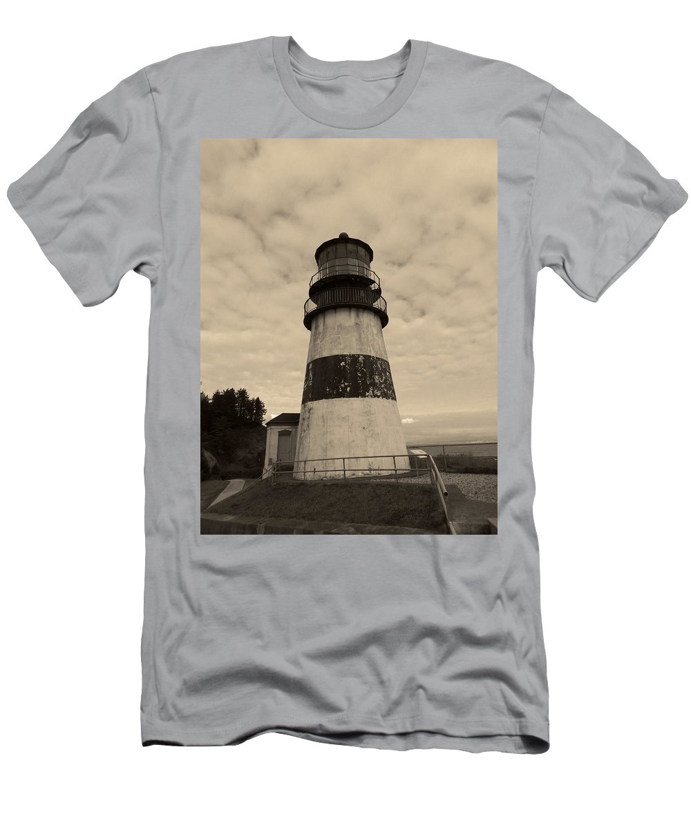 Men's T-Shirt (Athletic Fit) featuring the photograph Cape Disappointment Lighthouse 2 by Cathy Anderson