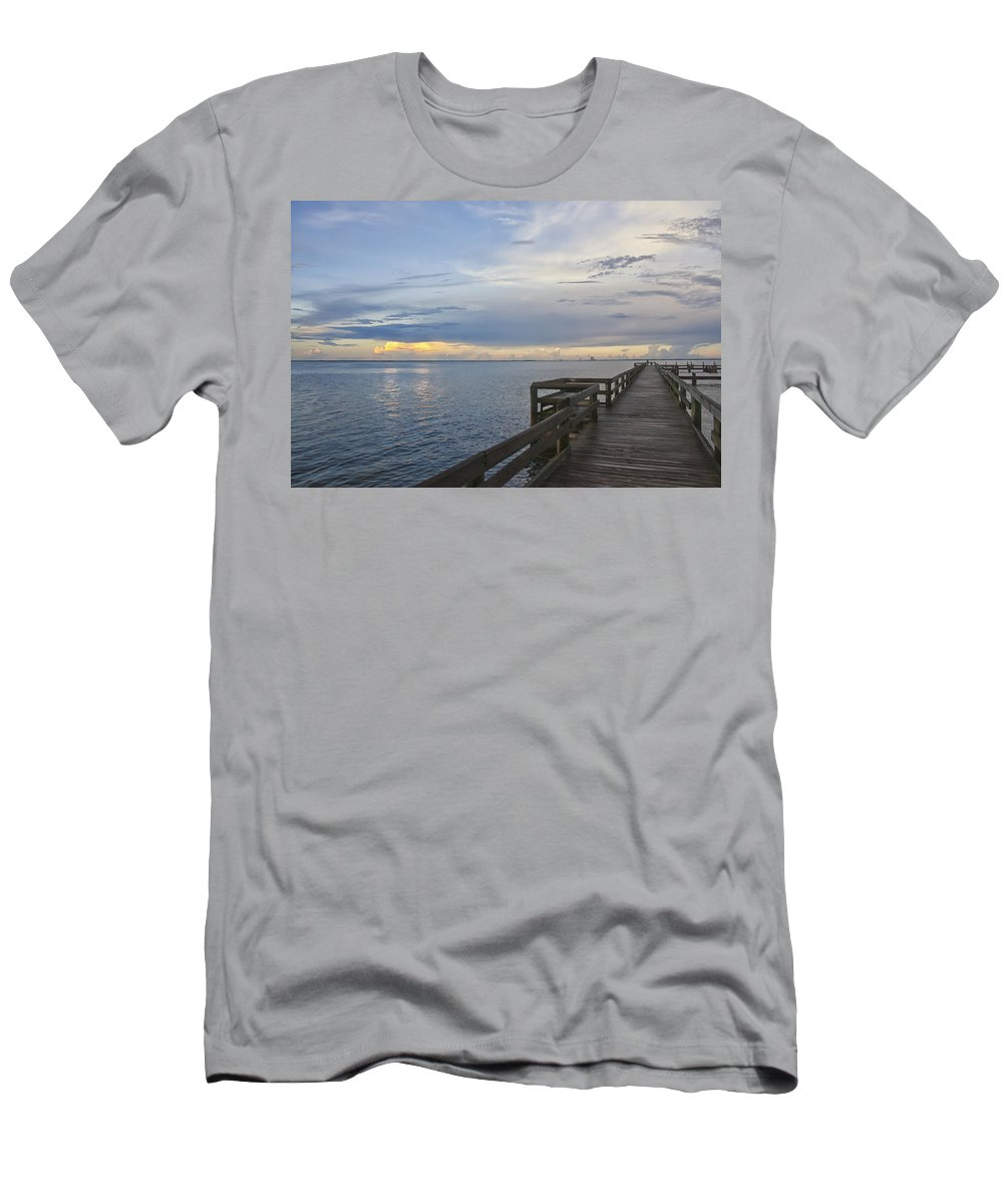 Sunset Photography Men's T-Shirt (Athletic Fit) featuring the photograph Cape Kennedy At Sunset by Louise Hill