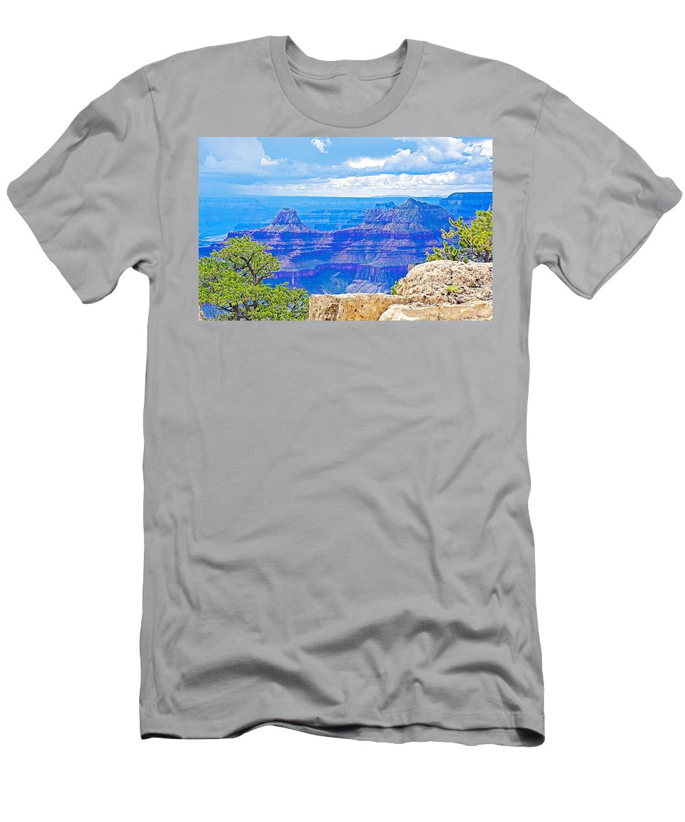 Cape Royal Blue On North Rim/grand Canyon National Park Men's T-Shirt (Athletic Fit) featuring the photograph Cape Royal Blue On North Rim Of Grand Canyon-arizona by Ruth Hager