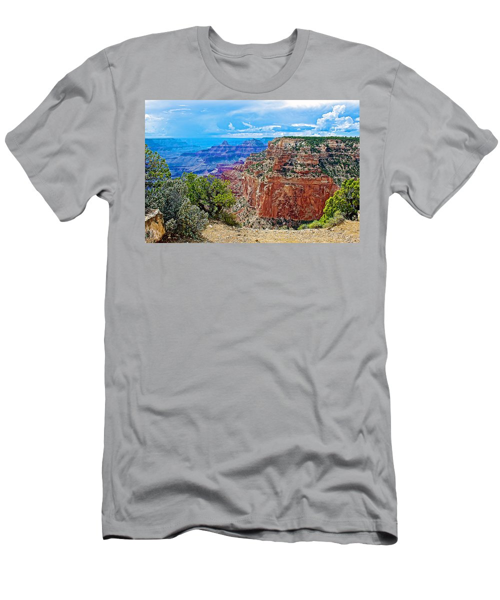 Cape Royal Three On North Rim/grand Canyon National Park Men's T-Shirt (Athletic Fit) featuring the photograph Cape Royal Three On North Rim Of Grand Canyon-arizona by Ruth Hager
