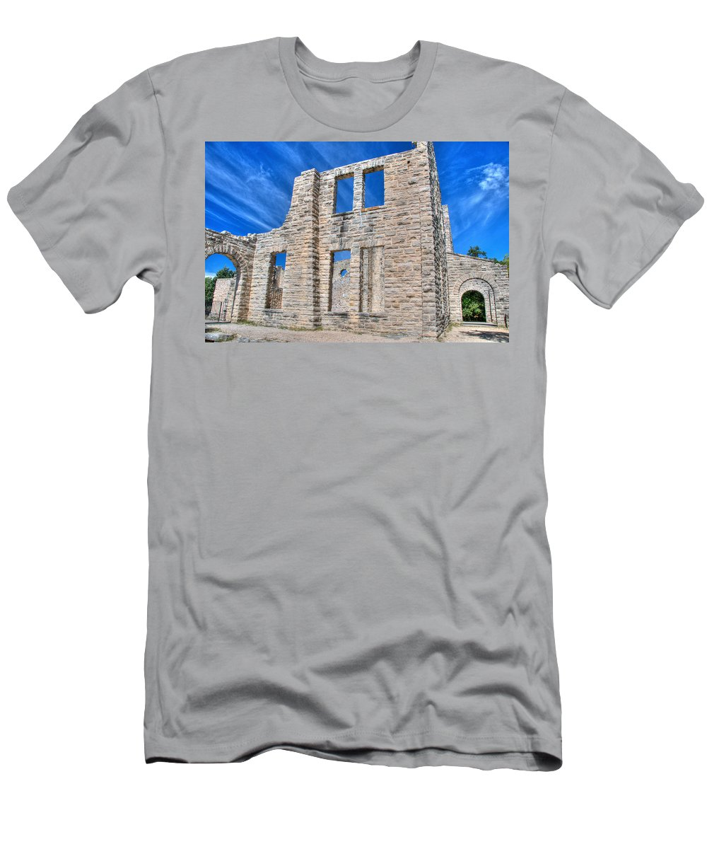 Ha Ha Tonka Men's T-Shirt (Athletic Fit) featuring the photograph Castle And Sky by Steve Stuller
