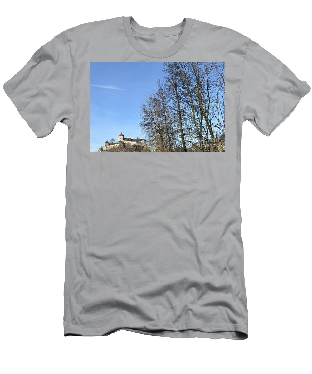 Landscape And Building Men's T-Shirt (Athletic Fit) featuring the photograph Castle And Trees by Felicia Tica