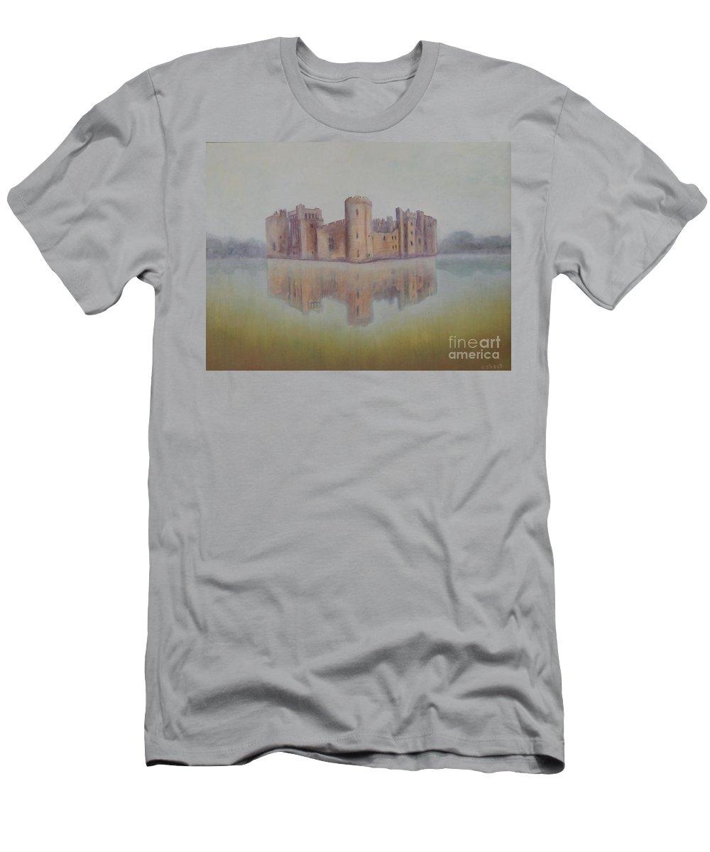 Bodiam Castle Men's T-Shirt (Athletic Fit) featuring the painting Bodiam Castle by Caroline Street