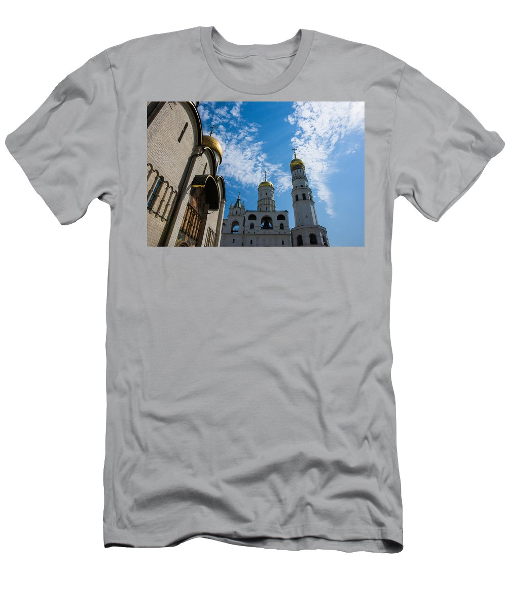 Architecture Men's T-Shirt (Athletic Fit) featuring the photograph Cathedral Of The Dormition And Ivan The Great Belfry Of Moscow Kremlin by Alexander Senin