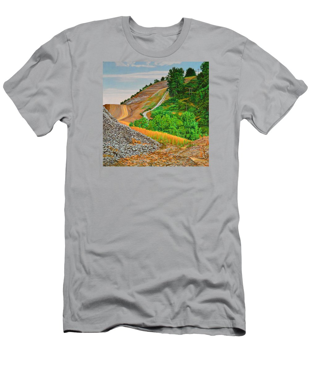 Landscape Men's T-Shirt (Athletic Fit) featuring the painting Cavity by Kenneth Cobb