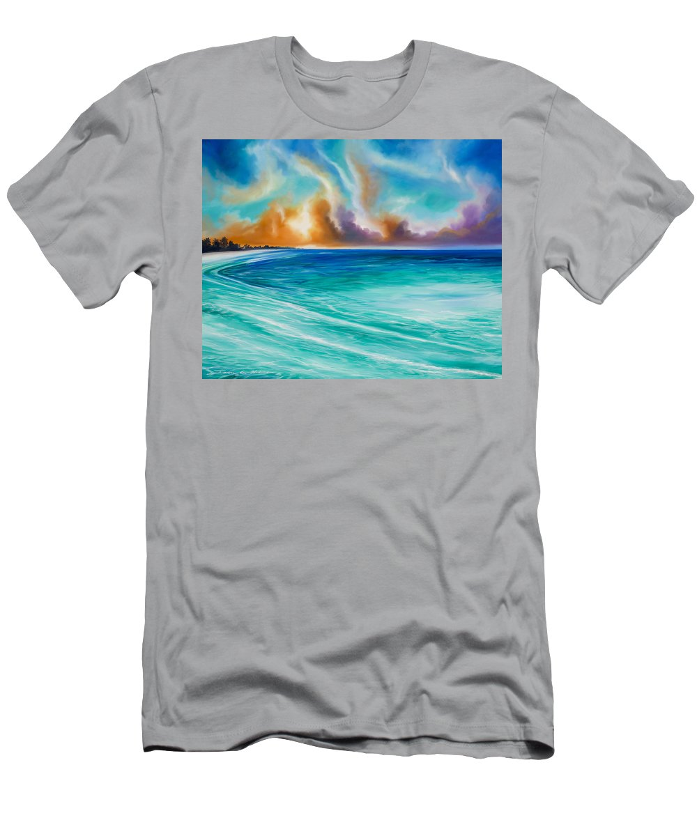 Sunrise T-Shirt featuring the painting Cazumel by James Christopher Hill