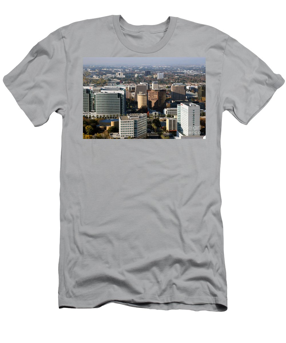Adobe Men's T-Shirt (Athletic Fit) featuring the photograph Central San Jose California by Bill Cobb
