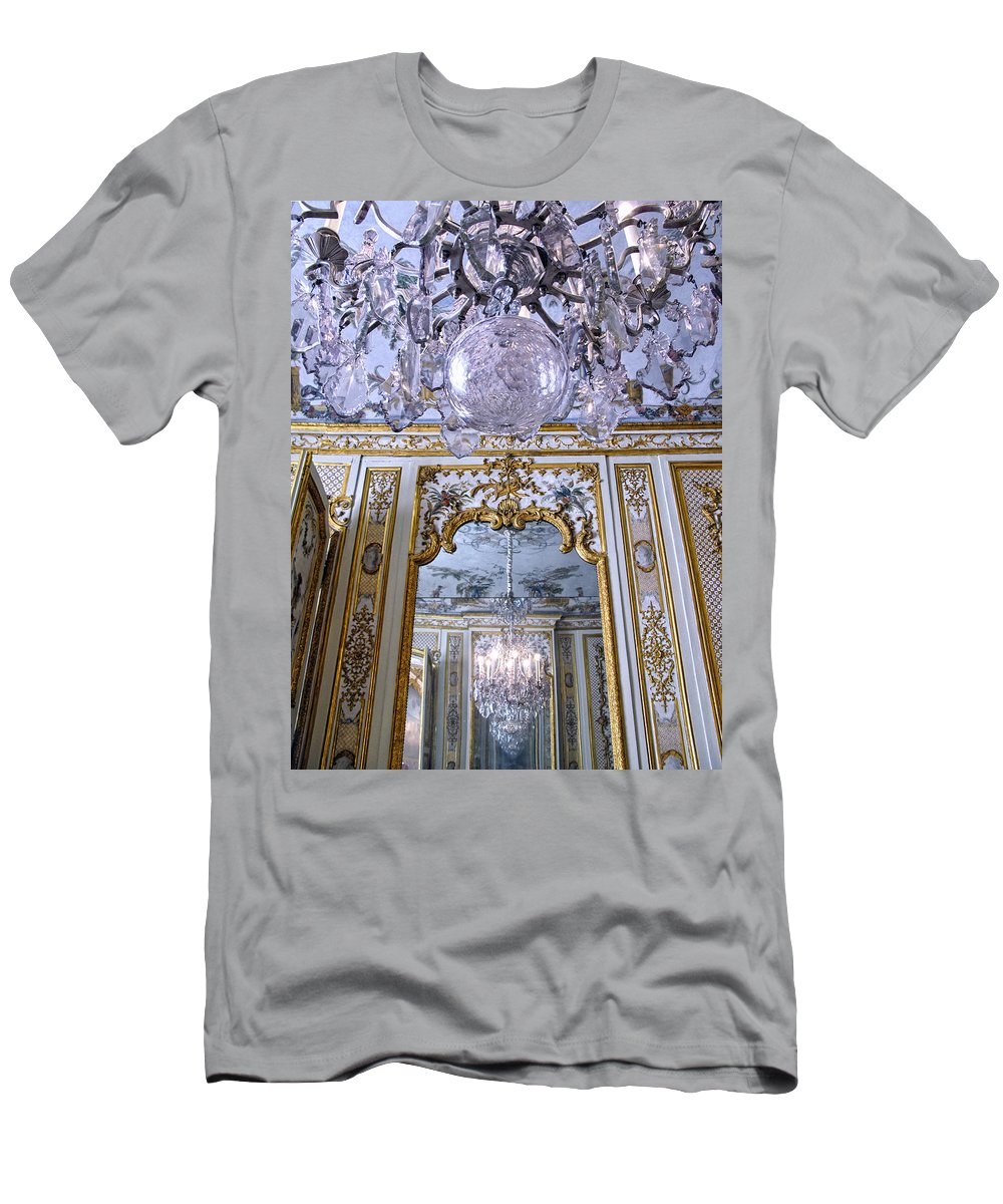 Chateau De Chantilly Men's T-Shirt (Athletic Fit) featuring the photograph Chandelier Inside Chateau De Chantilly by Dave Mills